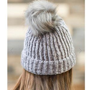Beanie Fashion Knitted Pom cap hat grey women's